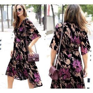 Zara perfect fall wrap dress, kimono style velvet